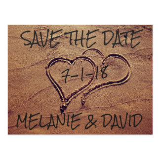 Hearts Drawn in Beach Sand Save the Date Postcard