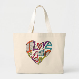 Hearts from words I love fashion Tote Bags