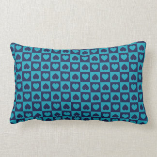 Hearts Galore Navy and Turquoise Throw Pillows