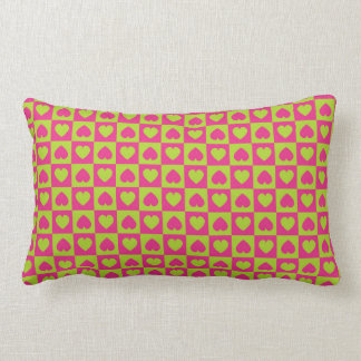 Hearts Galore Pink and Green Throw Pillows