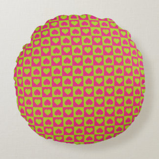 Hearts Galore Pink and Green Round Pillow
