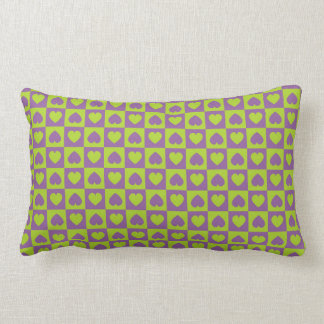 Hearts Galore Purple and Lime Throw Pillow