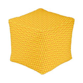 Hearts Galore Yellow and Orange Pouf