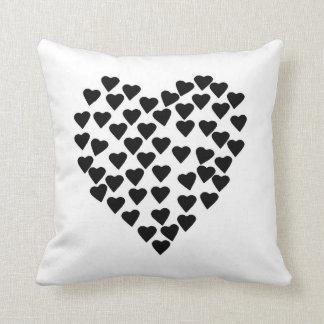 Hearts Heart Black on White Throw Pillow