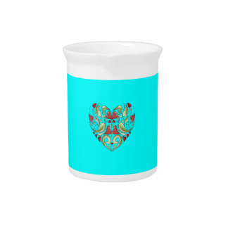 Hearts-In-Heart-On-Aquamarine-Blue-Pattern Beverage Pitchers