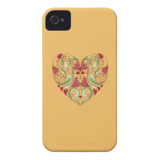 Hearts-In-Heart-On-Beeswax-Orange-Yellow-Pattern Case-Mate iPhone 4 Case