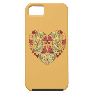 Hearts-In-Heart-On-Beeswax-Orange-Yellow-Pattern iPhone 5 Covers