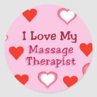 Hearts: Love My Massage Therapist Round Sticker
