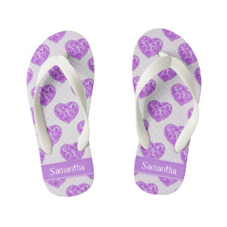 Hearts of Amethyst Tiles Offset Rows Personalized Kid's Jandals