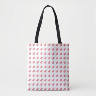Hearts of Yarn & Knitting Needles Crafts Pattern Tote Bag