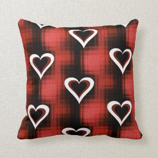 Hearts On Checkerboard Throw Pillows