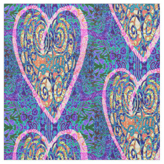 Hearts on Purple Pattern Fabric