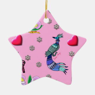 Hearts & Peacocks - Pink & Cyan Delight Ceramic Star Decoration