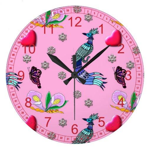 Hearts & Peacocks - Pink & Cyan Delight Wall Clocks