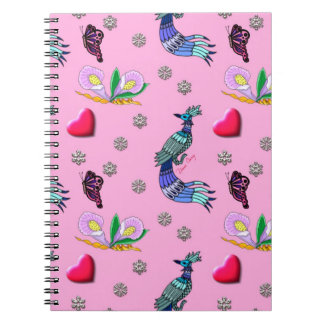 Hearts & Peacocks - Pink & Cyan Delight Notebook