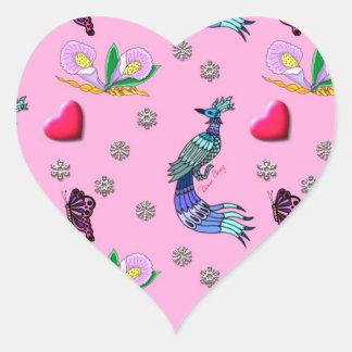 Hearts & Peacocks - Pink & Cyan Delight Heart Sticker