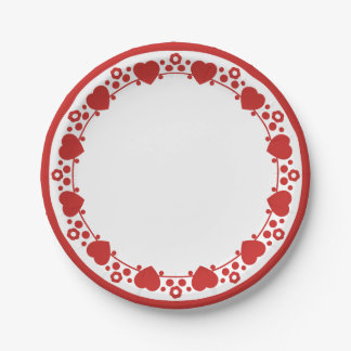 Hearts & Polka Dots Red & White Wedding Love 7 Inch Paper Plate