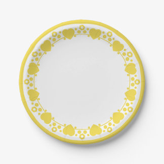Hearts & Polka Dots Yellow & White Wedding Love 7 Inch Paper Plate