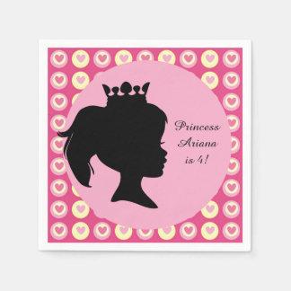 Hearts Princess Custom Birthday Paper Napkin