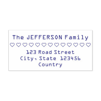 Hearts Row Family Name and Address Rubber Stamp