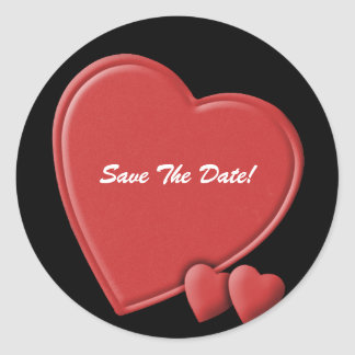 Hearts save the date round stickers