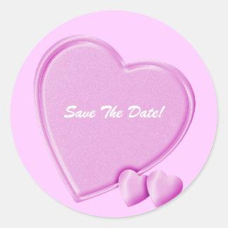Hearts save the date round sticker