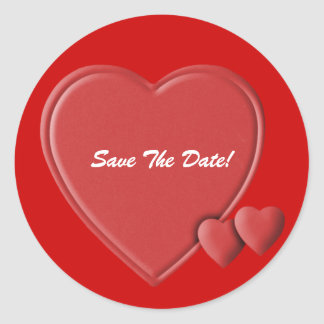 Hearts save the date stickers
