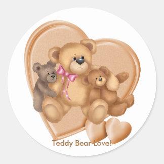 Hearts Teddy Bear Love Round Sticker