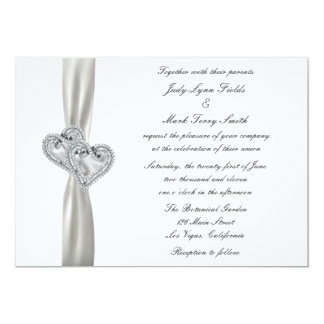Hearts White Wedding Invitation