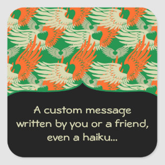 Heartwings Camouflage Tangerine & Green Square Sticker