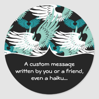 Heartwings Camouflage: Turquoise, White & Black Classic Round Sticker