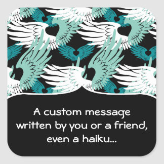 Heartwings Camouflage: Turquoise, White & Black Square Sticker