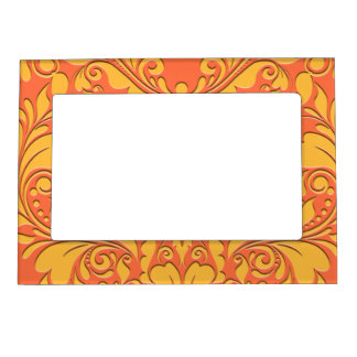 HeartyParty Orange and Yellow Damask Heart Magnetic Picture Frame