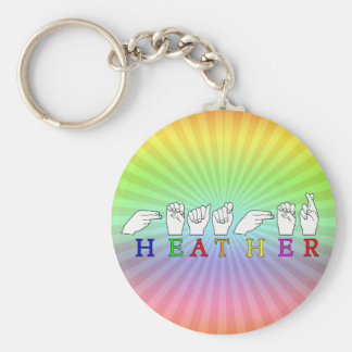 HEATHER ASL SIGN FINGERSPELLED NAME BASIC ROUND BUTTON KEY RING
