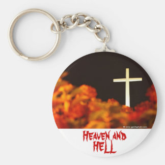 Heaven and Hell Basic Round Button Key Ring