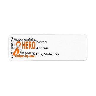 Heaven Needed a Hero Father-In-Law Leukemia Return Address Label