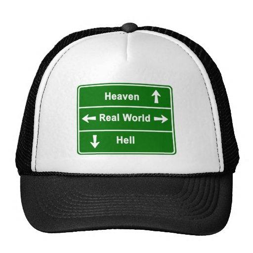 HEAVEN,REAL WORLD & HELL TRUCKER HATS