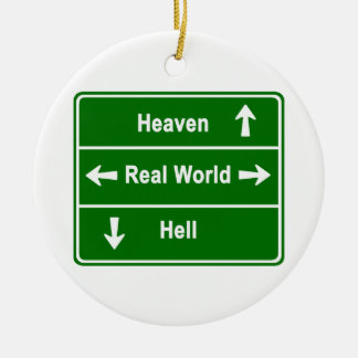 Heaven, real world & hell round ceramic decoration