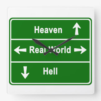 Heaven, real world & hell square wall clock
