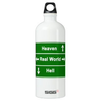 Heaven, real world & hell water bottle