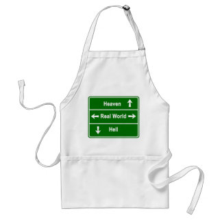 Heaven, real world or hell adult apron