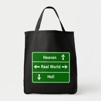 Heaven, real world or hell tote bag