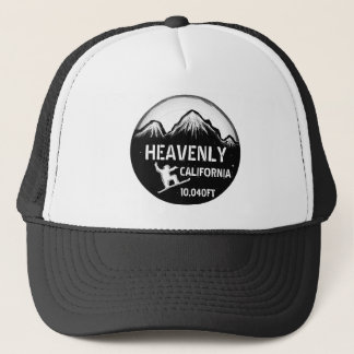 Heavenly California black white snowboard art hat