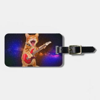 Heavy metal cat - rocker cat - guitar cats luggage tag