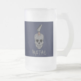 Heavy Metal Guitar Skull Frosted Glass Beer Mug