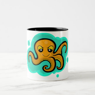 Heba the  Octopus Character Two-Tone Coffee Mug
