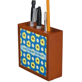 Hebrew Birthday Yellow Daisies Blue Desk Organizer Desk Organisers