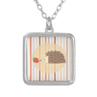 Hedgehog and Strawberry Silver Plated Necklace
