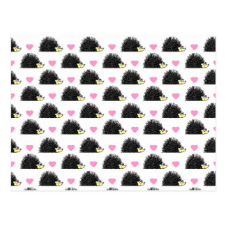 Hedgehog Heart Pattern White Postcard