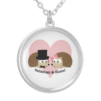 Hedgehugs and Kisses Hedgehog Couple Silver Plated Necklace